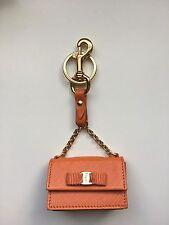 SALVATORE FERRAGAMO Orange Leather Keychain Mini Coin Purse