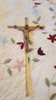 "Brass Gold Metal Crucifix 9 & 1/2""  Wall Hanging Jesus On The Cross"