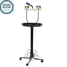MOORE XL Steel Bird Cage Toy Play Stand Holder Perch with Wheels + Feeder