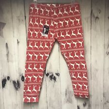 No Boundaries Ankle Leggings Christmas Reindeer Red White XXL 19 Juniors (J21