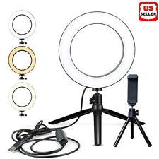 "6"" LED Ring Fill Light Studio Photo Video USB Dimmable Lamp Selfie Portable US"