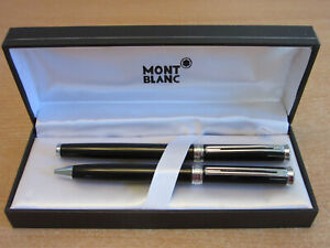Set of 2 Montblanc Black Oblige Noblesse Ball point pens with case
