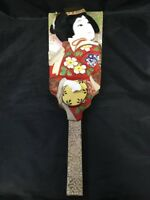 Vintage Japanese Hagoita Woman Kimono Hand Painted Cherry Blossoms Japan Decor