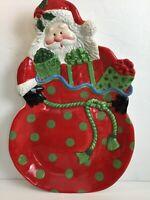 Fitz & Floyd Gourmet Kringle Santa Bag Platter X Large New in Box