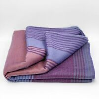 "SOFT & WARM STRIPED ALPACA LLAMA WOOL BLANKET THROW 90""x70"" QUEEN BED SOFA COUCH"