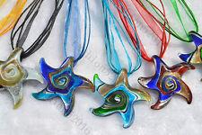 FREE Wholesale lots 6ps Starfish Helix Lampwork Glass Pendants Silk Necklace