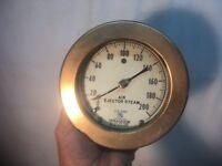 Vintage Large Brass Air Ejector Steam Gauge Ashcroft USA Steam Punk