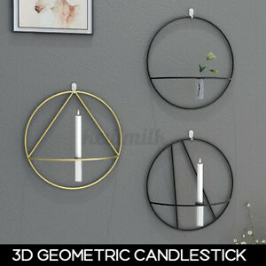 Nordic Style 3D Geometric Candlestick Metal Wall Candle Holder Home Crafts Decor