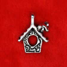 6 x Tibetan Silver Bird on House Gardening Charm Pendant Finding Beading Making
