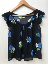 Hollister Navy Blue Floral blouse Top womens flowers size XS sheer