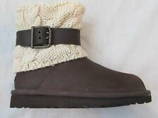 UGG girls kids 13 boots chocolate brown leather Cambridge wool foldover buckle