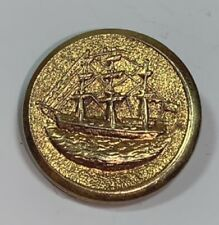 "Three Masted Sailing Ship Metal Brass Vintage Button 7/8"" Round"