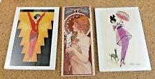 Art Deco Style Lot Woman Women Lady 2 Magnets & Mini Art Print Card