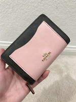 COACH F27147 MEDIUM CORNER ZIP WALLET IN COLORBLOCK SIGNATURE CANVAS WALLET