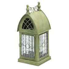 Glass and Metal Architectural Candle Lantern - Green Patina Durham House