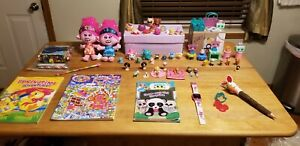 Girls Toy Lot of 70+ - Shopkins, Num Nums, 2 Troll Plush, Mini Collectibles