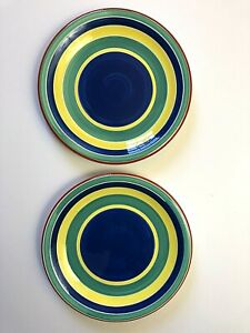 """2 Pier 1 One Imports Dinner Plates 10"""" Blue Green Yellow Red Circles Stripes"""