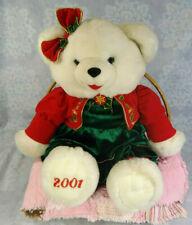 "20"" 2001 Winter Snowflake Teddy Bear Girl White Polar Green Red Dress Christmas"