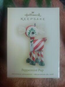 "Hallmark Keepsake 2007 ""Peppermint Pup"" Dog Candy Ornament WD4095 New In Box"