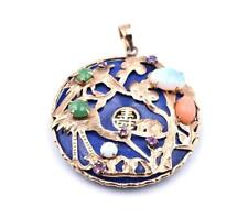 and Ruby Asian Inspired Pendant 14k Yellow Gold Lapis, Jade, Opal,