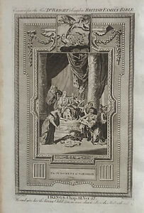 1770 The Judgement Of Solomon, Kings Biblical Antique Copperplate Print