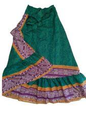 Unique Silk Wraparound Flamenco Frill Tie Skirt Green Gold Purple Boho Festival
