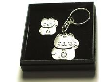 Maneki-neko, lucky Japanese cat Pin Badge and Keyring set, BOXED  good fortune
