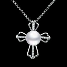 Elegant 18k 18CT White Gold Filled GF Pearl CZ Cross Pendant Necklace N-A740