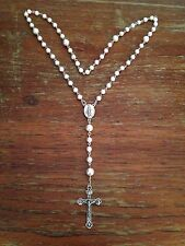 Antique Vintage Catholic Rosary Beads, White Pearls, Handmade