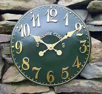 Outdoor indoor Green Garden Wall Clock  Hand Painted church clock 30cm