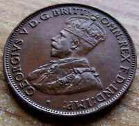 Mahogany Brown toned 1927 Australia Half 1/2 Penny, 6+ Pearls Cen Diam. w Holder
