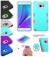 Hybrid Rubber Armor Rugged TUFF Shock proof Case Cover +Cloth For Samsung Galaxy
