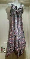 Warehouse Multicolour Boho Hippy Paisley Print Handkerchief Dress Size uk10
