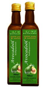 Avocadoöl Avocado Öl nativ 250 500 1000 ml Glasflasche Ausgießer versandfrei