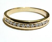 14k yellow gold .48ct round diamond mens wedding band ring 3.4g gents