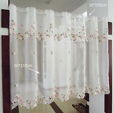Pink flower great Embroidered Home decorate Kitchen Lace Sheer Cafe Curtain