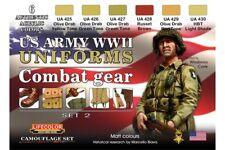 LifeColor CS18 WWII US ARMY Uniforms Colours Set 2 6x 22ml Acrylic Colours