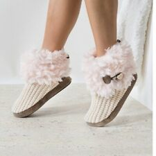 Mukluks Woman Winter Boots Shoes Casual Pink-beige Crochet Faux Fur Sz S 5-6