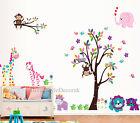 Jungle Safari Tree Animal Wall Stickers Kids Nursery Decals Girls Bedroom Decor