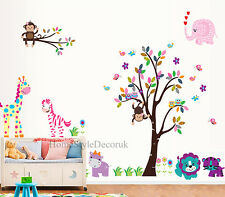 Jungle Zoo Animals Tree Wall Stickers Kids Nursery Decals Girls Bedroom Decor