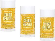 3 X 92g Schmidts Schmidt's Deodorant Stick Sensitive Skin Coconut Pineapple