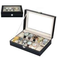 High Quality 12 Slot Watch Box Leather / Jewelry Display Storage Organizer Box