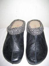 Aetrex Krista Black leather clogs Mule Shoes Women's Size 6