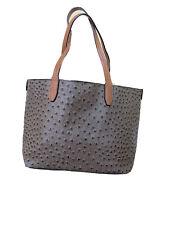 Womens Medium Size Brown Ostrich Skin Bag