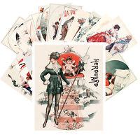 Postcards Pack [24 cards] Pinup La Vie Parisien Cheri Herouard Vintage CC1038