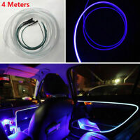 4m Blue LED Car Truck Fiber Optic Decorative Strip Lamp Dash Trim Moulding Light
