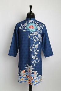 Ao Dai Nam Cach Tan, Vietnamese Traditional Dress for Men Blue Wave Design