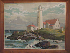 Vintage Paint by Numbers Lighthouse and Ocean Scene - slightly textured