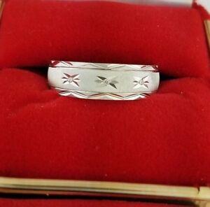 14k Solid White Gold 6 MM Men's Diamond Wedding Band Engagement Ring