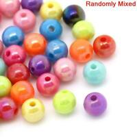 "500Pcs Mixed Bubblegum Color Acrylic Round Beads 6mm( 2/8"") Dia Smooth Ball New"